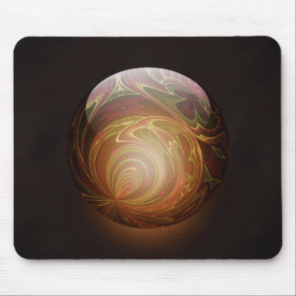 Golden Glowing Round Marble Abstract Mouse Pad