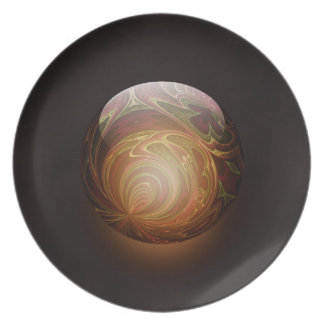 Golden Glowing Round Marble Abstract Party Plates