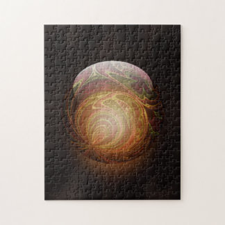 Golden Glowing Round Marble Abstract Puzzle