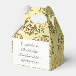Golden gold damask pattern wedding favour box