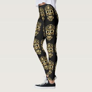 Golden Gothic Glamour sugarskull template design Leggings