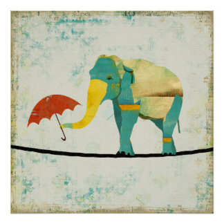 Golden Graceful Elephant  Art Poster