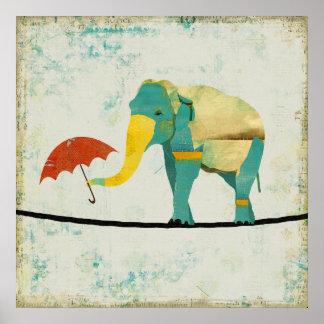 Golden Graceful Elephant Art Poster