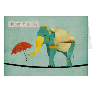 Golden Graceful Elephant Birthday  Card