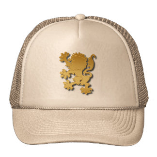 Golden Gradient Embossed Heraldic Lion With Shadow Cap