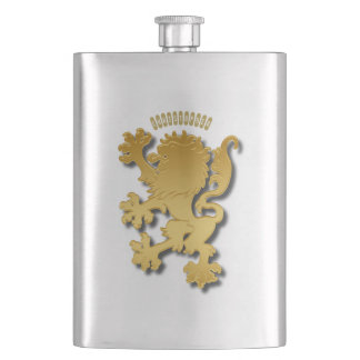 Golden Gradient Embossed Heraldic Lion With Shadow Hip Flask