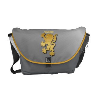 Golden Gradient Embossed Heraldic Lion With Shadow Messenger Bags