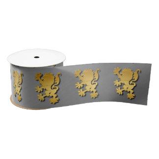 Golden Gradient Embossed Heraldic Lion With Shadow Satin Ribbon