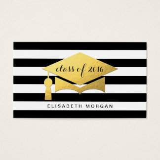 Golden Graduation Cap Graduate Personal Contact Business Card
