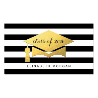 Golden Graduation Cap Graduate Personal Contact Pack Of Standard Business Cards