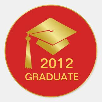 Golden Graduation Round Sticker