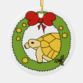 Golden Greek Tortoise Christmas Ornament (wreath)
