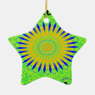 Golden Green African Traditional Fabric Colors Ceramic Star Decoration