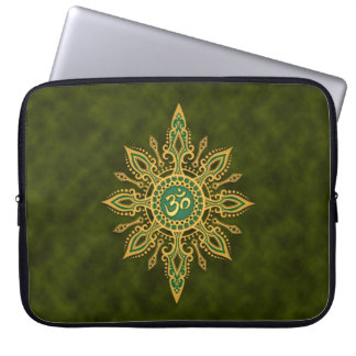 Golden Green Aum Star Laptop Sleeve