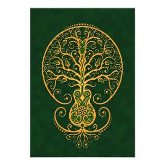 Golden Green Guitar Tree of Life Invitations