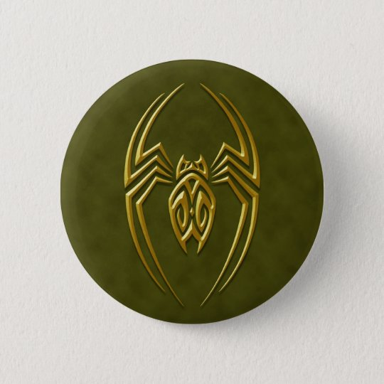 Golden Green Iron Spider 6 Cm Round Badge