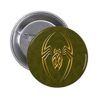 Golden Green Iron Spider 6 Cm Round Badge
