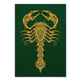 Golden Green Tribal Scorpion Invitations