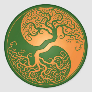Golden Green Yin Yang Tree Round Stickers