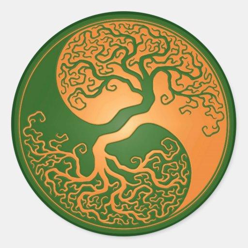 Golden Green Yin Yang Tree Round Stickers