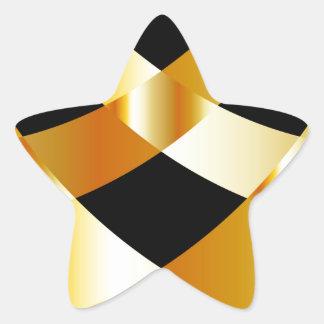 Golden grid background star sticker