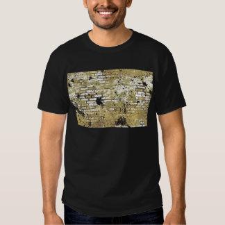 GOLDEN GRUNGE BRICK WALL TEMPLATE CITY INNER GANGS TEE SHIRTS