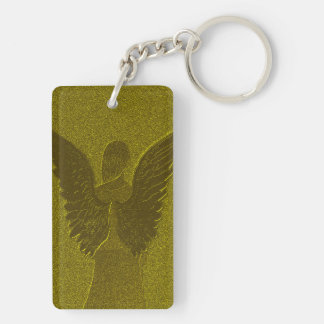 Golden Guardian Angel Double-Sided Rectangular Acrylic Key Ring