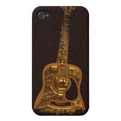 Golden Guitar Music Instrument iPhone Case iPhone 4 Cases