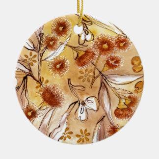 Golden gum flowers christmas ornament