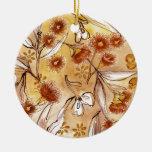 Golden gum flowers round ceramic decoration