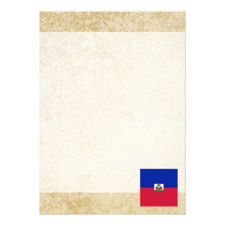 Golden Haiti Flag 13 Cm X 18 Cm Invitation Card