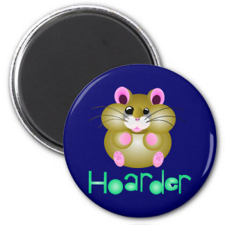 """Golden Hamster - """"Hoarder"""" 6 Cm Round Magnet"""