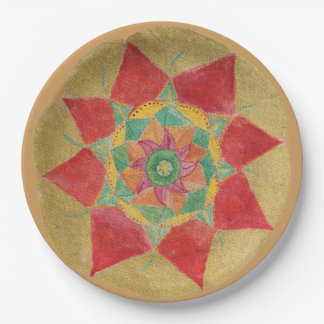 Golden Hand Painted Mandala Paper Plates 9 in