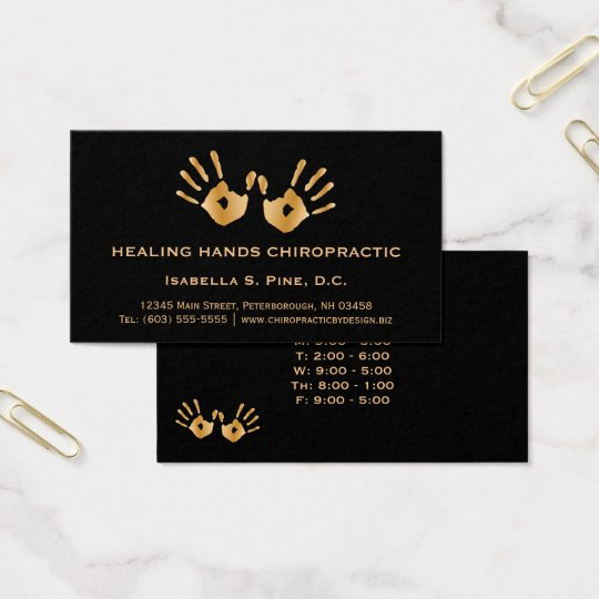 Golden Hand Prints Office Hours Chiropractor Business Card