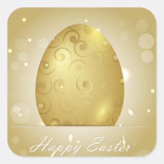 Golden Happy Easter Egg Design Square Sticker