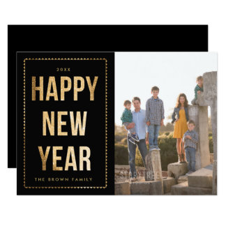 Golden Happy New Year Photo Card on Black