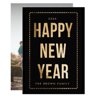 Golden Happy New Year Photo Card on Black 13 Cm X 18 Cm Invitation Card