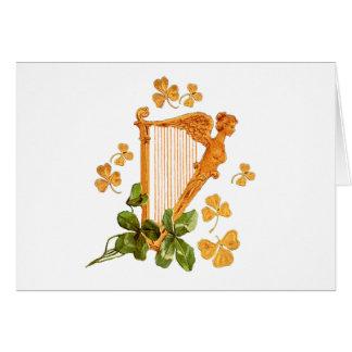 Golden Harp and Shamrocks Of Ireland Card