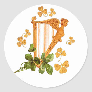 Golden Harp and Shamrocks Of Ireland Round Sticker