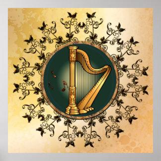 Golden harp poster