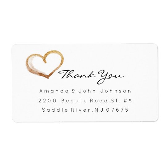 Golden Heart Brush Stroke Thank You Shipping Label
