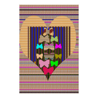 Golden HEART Butterfly pattern navinJOSHI NVN138 Posters