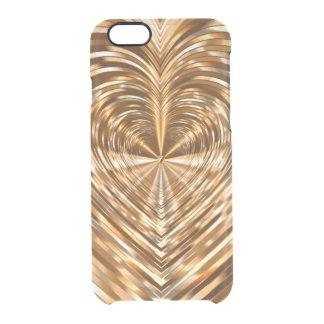 Golden heart clear iPhone 6/6S case