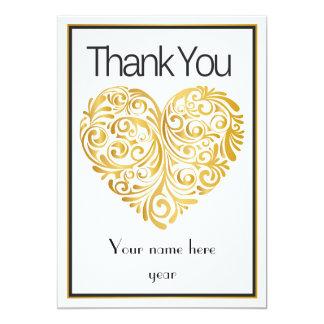 Golden heart design Thank you Note 13 Cm X 18 Cm Invitation Card