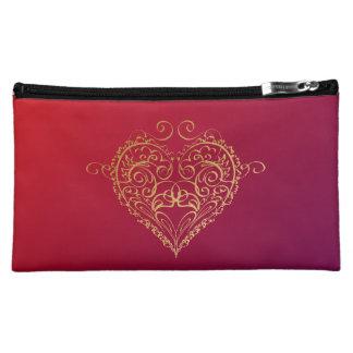 Golden Heart illustration Cosmetic Bag