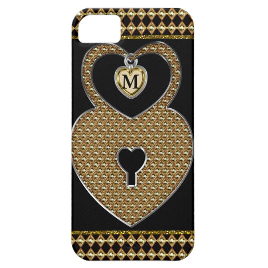 Golden Heart Lock With Charm Monogram Case For The iPhone 5