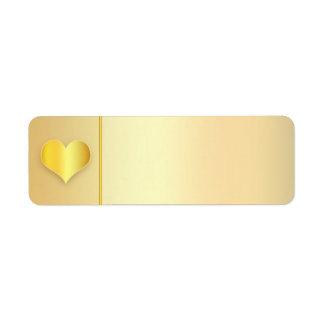 golden heart modern wedding address labels