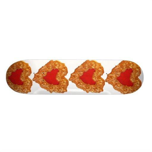 Golden Heart on white Skate Boards