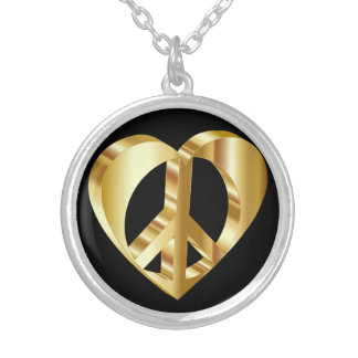 Golden heart peace symbol silver plated necklace