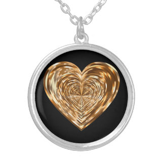 Golden heart silver plated necklace
